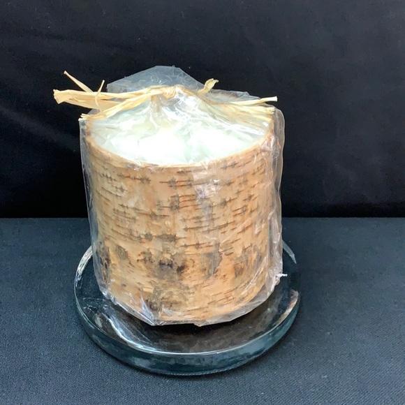 """Pottery Barn Birch Bark Pillar Candle 4"""" X 4"""""""